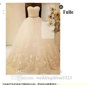 Ball Gown Wedding Dresses Sweetheart Crystal Tulle Floral Lace Ball Gown Wedding Dress