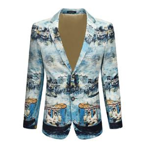 Baskılı Kadife Kumaş Blazer Aktör Şarkıcı DJ Sahne Elbise Superstar'ı Boyama Erkek Ceket Çin Stil Yüksek kaliteli Moda Mürekkep