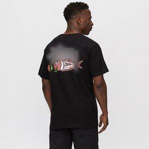 Marka Moda Lüks Tasarımcı Erkekler 19fw Sazan Stok Tee Gül Sazan yazdır Güzellik Çift Gevşek Short Sleeve Erkek Tişörtü Kadınlar Kontrol