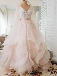 Elegant V Neck Blush Pink Wedding Dresses with Lace Appliques 2020 Sexy Backless Ruffle Tulle Skirt Sleeveless Bridal Gowns