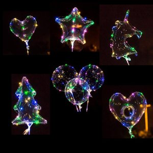 Decoración nupcial de la ducha ducha de la boda del globo Bobo alta calidad colores LED LED que brilla intensamente transparente helio Balón de Bebés y Niños fiesta de cumpleaños del juguete