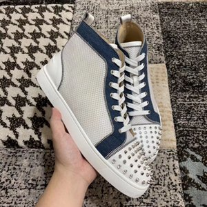 2019 High Top Red Bottom Sneakers,Red Sole with Spikes, White Mesh Leather Casual Flats For Women & Men High Quality Brand Party Wedding