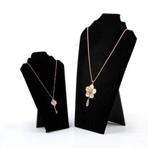 5PCS Collar Shape Black Necklace Display Board Jewelry Display Board Velvet Jewelry Organizer Shelf Foldable Storage Holder
