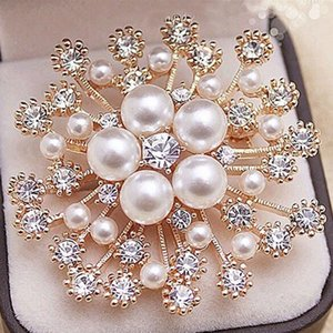 Fashion Women Large Brooches Lady Snowflake Imitation Pearls Rhinestones Crystal Wedding Brooch Pin Jewelry Accessorise