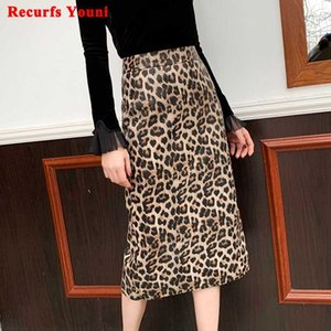 2020 Winter Women Leopard Print Genuine Leather Long skirt Female Over Knee Wrap Jupe Mujer Back Split Wild Sexy Faldas Sreet