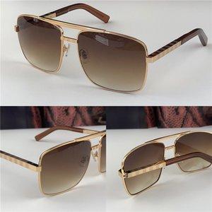 neue Art und Weise klassische Sonnenbrille Haltung Sonnenbrille Goldrahmen quadratischer Metallrahmen Vintage-Stil im Freien klassischen Modell 0259