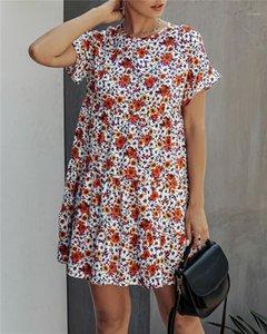 Сыпучие Короткие рукава Повседневные платья Famale Crew Neck Одежда женская Daisy Печать высокой талией платье летом