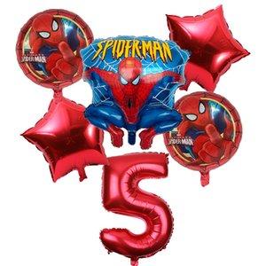 6pcs / lot Spiderman-Ballon 32inch Anzahl Spiderman Party Aufblasbare Helium-Ballone Geburtstags-Party-Dekoration Kinder ballon globos