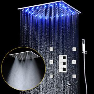 Дождь и туман Потолочные 20 «» LED насадка для душа Душевой комплект Смесители Tap Душ Kit С 6 Body Jet и термостатический смесительный клапан