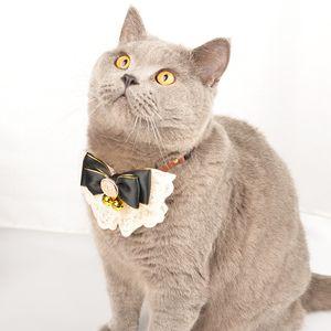 2020 Colar Dog Pet Acessórios Handmade laços Lace Dogs Festival Cat Bow Tie sino cão decorações laço colar de arco