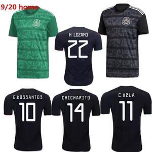 2019 Versione del giocatore del Messico H.lozano Chicharito Gold Cup Green Black Soccer Jersey Dos Santos Mexico Camisetas de Futbol Camicia da calcio 2020