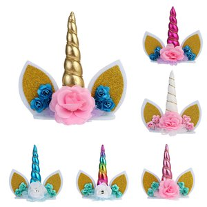 Unicorn Horns decoración de la torta para los niños fiesta de cumpleaños decoración de la boda del arco iris del unicornio Cake Toppers Bicarbonato de joyería y accesorios XD21577