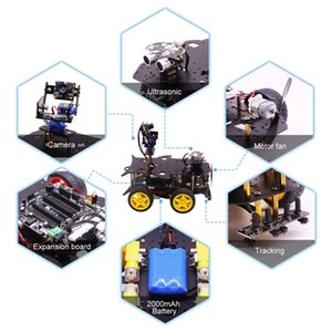 Bluetooth Ultimate Starter Kit Programmable Smart Robot Car with Camera 4WD Education DIY Stem Toy Kit with Raspberry 4B (4G)