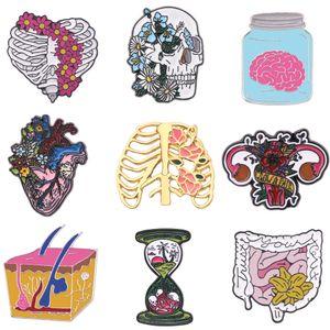 심장 꽃 리브 케이지 뇌 장 브로치 두개골 심장 모래 시계 신경 브로치 에나멜 옷깃 핀