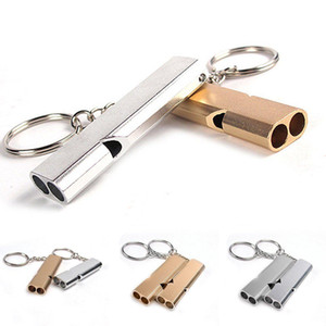 Outdoor Apito Chaveiros Liga de Alumínio Pendant Survival EDC Ferramentas Keychain Double-frequência Gold / Sliver emergência EDC Molle BBA75