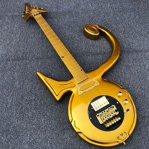Unique Dream Guitar di Jerry Auerswald Diamond Series Prince Love Symbol Chitarra elettrica oro Floyd Rose Tremolo Bridge, Black Pickguard