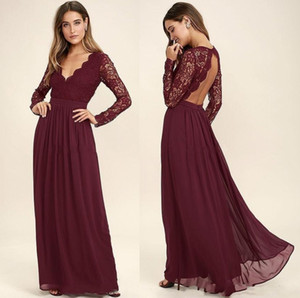 Burgundy Lace Chiffon Bridesmaid Dresses Long Sleeves Western Country Style V Neck-Backless Long Beach Top Wedding Party Dresses