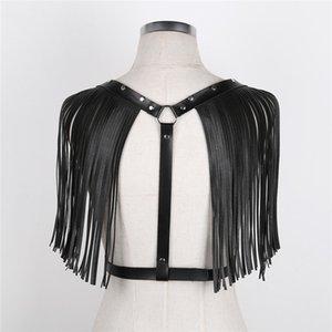 iEFiEL Seksi Moda Kadın İç Giyim PU Deri Ayarlanabilir Omuz Püskül MX200506 ile Geri Vücut Göğüs Harness Kölelik Kuşak Y şeklindeki
