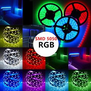 5M 10M 100M LED Light Strip RGB 5050 SMD Led Flexible Ribbon fita led strip lights 10M 15M 20M Tape Diode DC12V +Remote Control +Adapter
