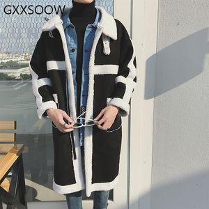 Velo Parkas Casacos Homens Mulheres Casual mais grossa de veludo casacos longos Windbreaker Parka 2019 Inverno Masculino Patchwork Jacket GM238