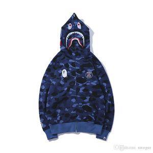2019 New Teenager Blue Camo Print Zipper Maglione Uomo Donna Streetwear Moda Allentato Camo Felpe con cappuccio Top Taglie M-2XL