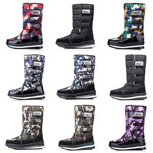 diseño de lujo botas de las mujeres de los hombres Camo La mitad de arranque para hombre de nieve botas de invierno botines impermeables de la plataforma 36-46 al por mayor