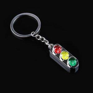 DHL Red and green Keychain Key light traffic signal light souvenir gift metal Chain Keyring 3D Keyfob car Key ring for men women NN