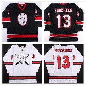 Personalizzato venerdì il 13th Jason Voorhees Hockey Maglie Nero Bianco Ricamo Cucito Formato Su Misura S-6XL Vintage Jersey Ari Lehman