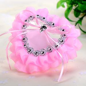 FEIS venta al por mayor hotsale de encaje anillo de almohada de poliéster en forma de corazón caja de la novia suministros de boda hechos a mano accesorios de boda hechos a mano