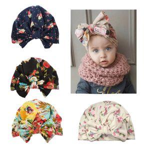 Bow Baby-Winter-Hut Weich bequeme warmen Baumwollkind-Hut Blumendruck-Kid-Hut-Kappen-Bogen-Knoten Kopf Wraps Turban Kid-Hüte DBC VT0876