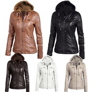 Женские толстовки зимние мото кожаная куртка с отложным Collor женская молния верхняя одежда из искусственной кожи Pu женский пиджак пальто плюс размерMX190820