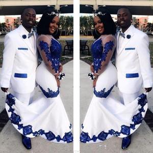 2020 Nuevo Blanco Satin Royal Blue Lace ASO EBI Africano Vestidos de fiesta de ilusión larga Mangas de ilusión Aplique Noche Pagón formal Celebrity Bats
