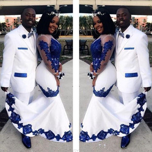 2020 Novo Cetim Branco Royal Azul Lace Aso Ebi Africano Vestidos de Prom Vestidos Longo Ilusão de Mangas Applique Noite Formal Pageant Celebrity Vestidos