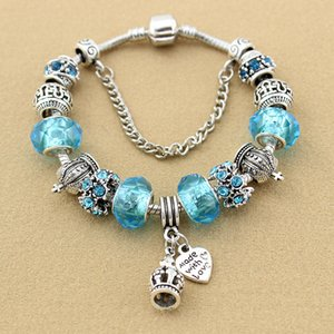 2020 Charm Bracelets 925 Silver plated for Pandora bracelet For Women Crown Blue Glass Crystal Beads and heat DIY Jewelry