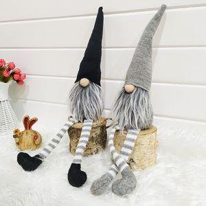 Ornamento Cap rayado de la Navidad sin rostro Muñeca sueca Nordic Elf Gnome Viejo muñecas de juguete árbol de Navidad colgante de la decoración del hogar XD22367