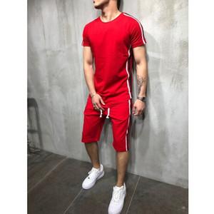 Мужчины Лето с коротким рукавом Спортивный костюм 2шт Спортивный костюм с коротким рукавом футболки + шорты из двух частей хип-хоп спортивные шорты футболка мужской комплект
