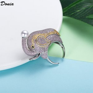 Donia Jewelry Luxury Ring Fashion Elephant Copper Micro-inlaid Colored Zircon Gifts from European and American Creative Designers