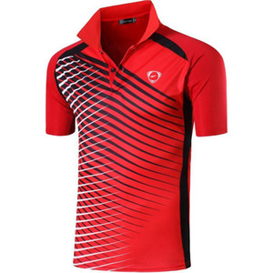 jeansian Men's Sport Tee Polo Shirts POLOS Poloshirts Golf Tennis Badminton Dry Fit Short Sleeve LSL243 Red2 T200528