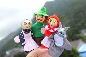 Giocattoli del bambino Cappuccetto Rosso degli animali di Natale giocattolo Finger Puppet giocattoli educativi Storytelling Doll Puppets mano Drop Ship