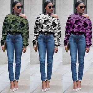 74F061 populaires collier de camouflage des femmes hors bouton épaule vers le bas à manches longues sexy outwear chandail sportswear automne lâche