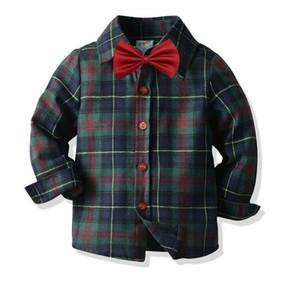 New Gentlemen's European and American children's clothing shirt cotton plaid long-sleeved bow tie boy shirt children's cardig