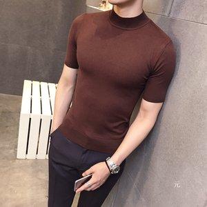 2018 Mode Pull à manches courtes pour hommes Pulls à col roulé Cardigan brun Cardigan pour hommes Style britannique Basique Top Slim Fit Gentleman Sexy