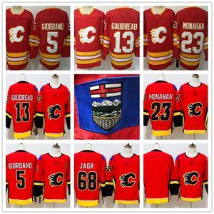 Flames de Calgary 13 Johnny Gaudreau 5 Mark Giordano 23 Sean Monahan 68 chandails Jaromir Jagr rouge blanc