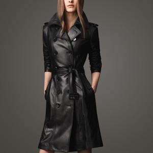 Осенняя черная длинная кожаная куртка женская мода пальто женская ветровка двубортная повседневная верхняя одежда черный большой размер