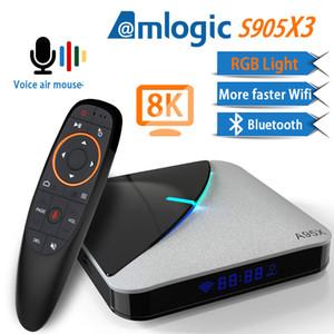 A95X F3 Hava 8K Android ses kontrolleri ile 9.0 TV BOX Amlogic S905X3 4K Youtube, Netflix wifi 4GB 16GB 32GB 64GB RGB Işık TV Box
