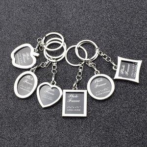Photo Frame Round Herz Apple-Oval Rhombus Form Metall-Legierung Schlüsselanhänger Schlüsselanhänger Schlüsselanhänger Autoanhänger Paare Schlüsselanhänger Geschenk JXW590