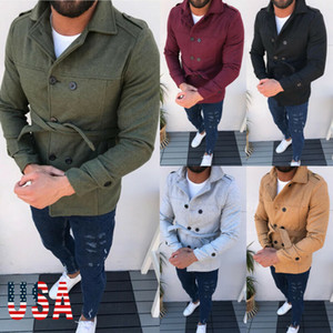 2020 NEW Men Winter Warm Woolen Coat Slim Fit Casual Reefer Jackets Solid Stand Collar Double Breasted Peacoat parka