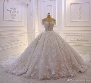 Sparkly in rilievo spalle scoperte Abito da sposa da ballo di lusso 3D fiori Appliqued merletto principessa Vintage arabo Abito da sposa