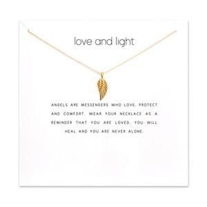 Mode engelsflügel anhänger halskette frauen minimalistischen schlüsselbein kette aussage choker halsketten liebe und licht geschenk karte