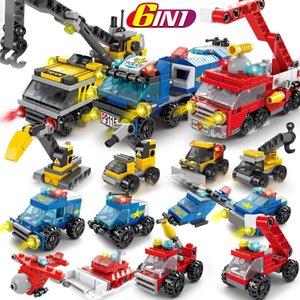6IN1 Blocchi City Fire polizia esercito Ingegneria Street View ragazze Building Blocks serbatoio elicottero Truck Car Mattoni Giocattoli per i bambini regalo